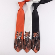 Men cartoon animal Mr. Fox 7cm neck ties youth Fairy tale stage performance ties male England British gentry corbata hombre