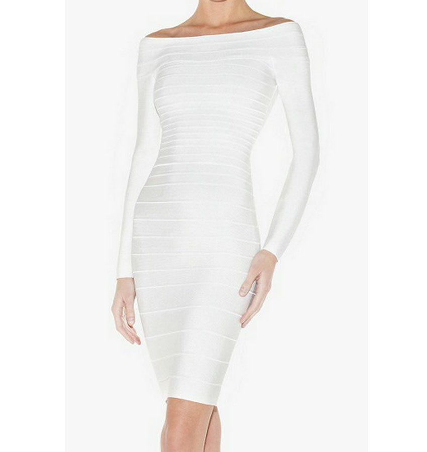 Compare Prices on White Long Sleeve Bandage Dress- Online Shopping ...