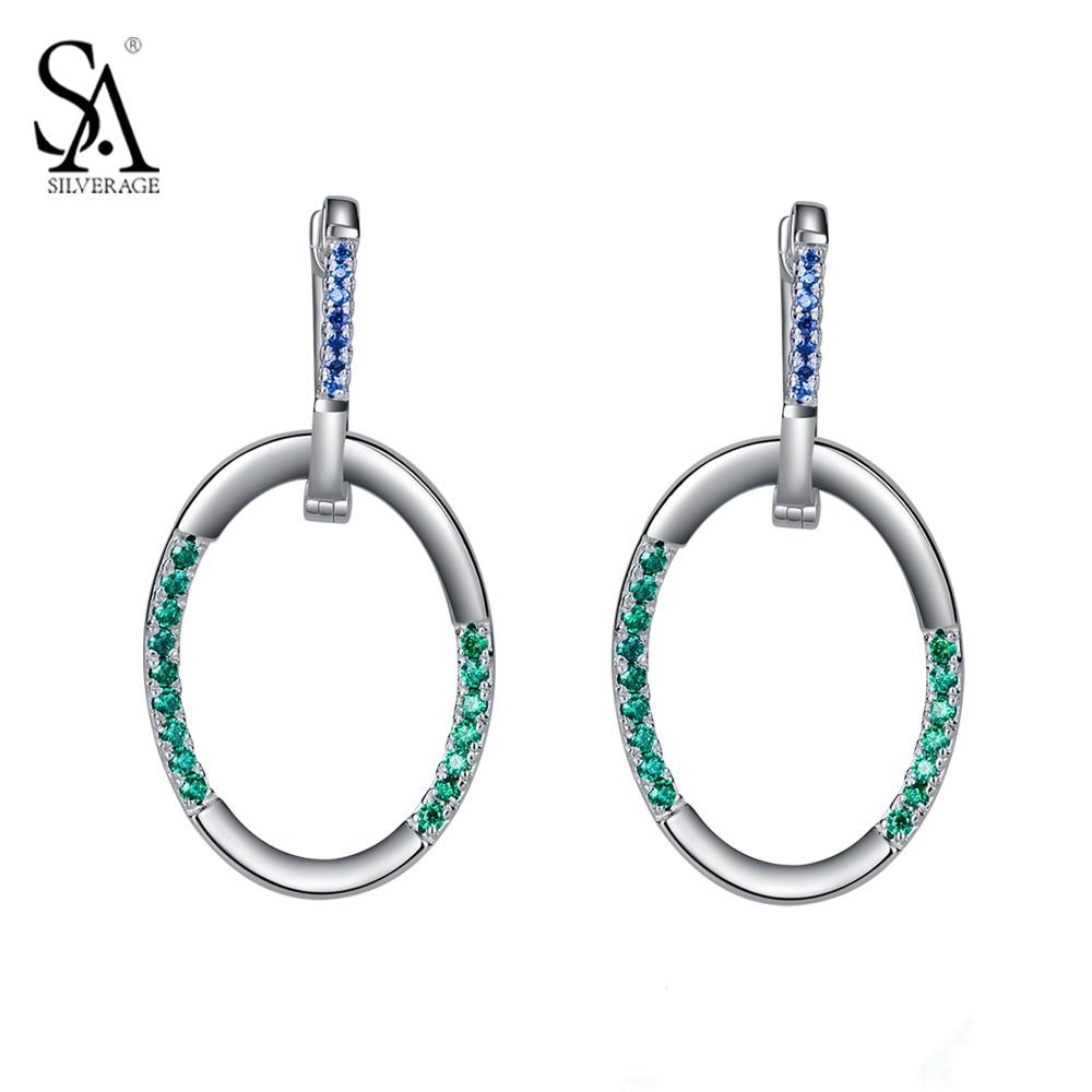 SA SILVERAGE Real 925 Sterling Silver Drop Earrings Geometry Fine Jewelry Geometric Earrings for Women Female Gift silver geometric star drop earrings for women