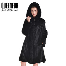 Fashion Women Natural Mink Fur Coat Brown Genuine Leather Fur Overcoat With Hood Cloth Whole Skin Black Real Fur Outwear