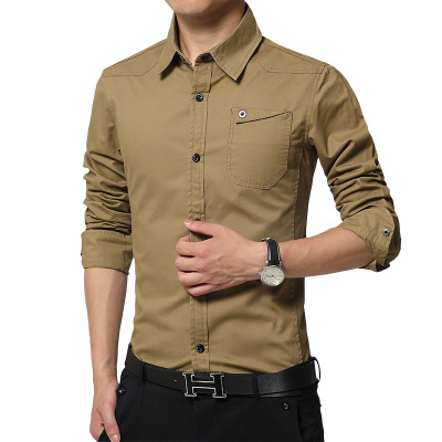 New Fashion Men Shirts casual Thick Long Sleeve Slim Mens Shirts Formal Business Clothing Fit Shirts CY022 ...