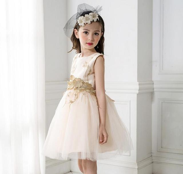 d9770e059f1 Flower Girl Dress Champagne Toddler Children Clothing Kids Clothes for Girls  Sleeveless Vintage Fashion Wedding Party Gown. Anniversary ...