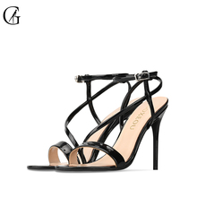 Купить с кэшбэком GOXEOU 2019 New Women Sandals Round Toe size 32-46Thin Heel High Heels Sexy Lace-up Bling Wedding Office Handmade  Free Shipping