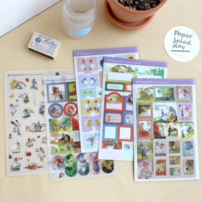 5 sheets/1 set New kawaii scrapbooking stickers The Wizard of OZ Decoration label stickers/sticky note/stationery/indigo