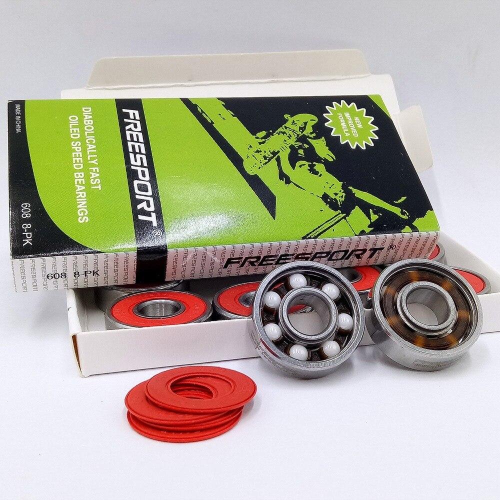 Prix pour Vitesse rapide et durable blanc planche à roulettes en céramique roulements pour vitesse de patinage patins 608 roulements