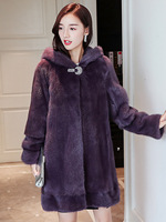 2019 winter new real mink fur coat whole mink fur coat long section with hooded tail wave fashion simple mink coat