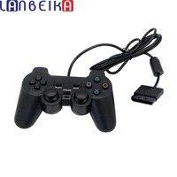 Tüketici Elektroniği'ten Oyun Kumandası'de LANBEIKA Siyah kablolu denetleyici 1.8 M Çift Şok Uzaktan joystick Gamepad Joypad PlayStation 2 için PS2 K5