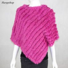 2017 FREE SHIPPING  Handmade Knitted women Rabbit Fur Poncho Genuine  Rabbit fur fashion poncho shawl jacket Coats wholesale