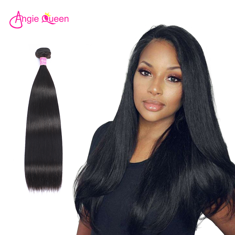 ANGIE QUEEN straight hair weave Indian hair 100% Human Hair 8 to 26 inch Remy hair 1/4 hair bundles natural black hair extension