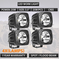 25W Square LED Work Light 12V 24V Spot Lamp For 4x4 Offroad ATV Truck Tractor Motorcycle Driving Fog Lights External Light x4pcs