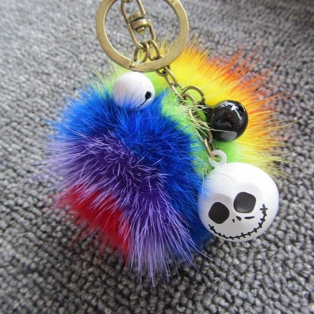 Christmas Gift 8cm Colorful Geniune Mink Fur Ball Pom Pom Keychain Fashion Cartoon Bell Key Chain Key Ring Car Women Bag Pendent