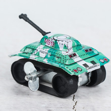 1PC Mini Vintage Tin Metal Toys Friction Tank Design Kids Children Childhood Classic Wind Up Clockwork Toy