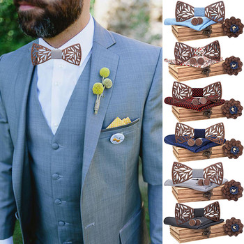 Manual Wooden Bow Tie Handkerchief Set Men's Bowtie Wood Hollow Carved with Box gift d90705