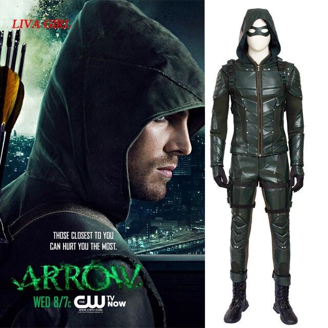 Flecha verde Oliver Queen traje TV show Arrow temporada 5 Cosplay ropa de  Halloween superhéroe traje 9d8279528fa