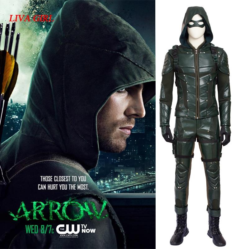 Green Arrow Oliver Queen Costume TV Show Arrow Season 5 Cosplay Costume Halloween Clothing Superhero Suit Adult Men Carnival