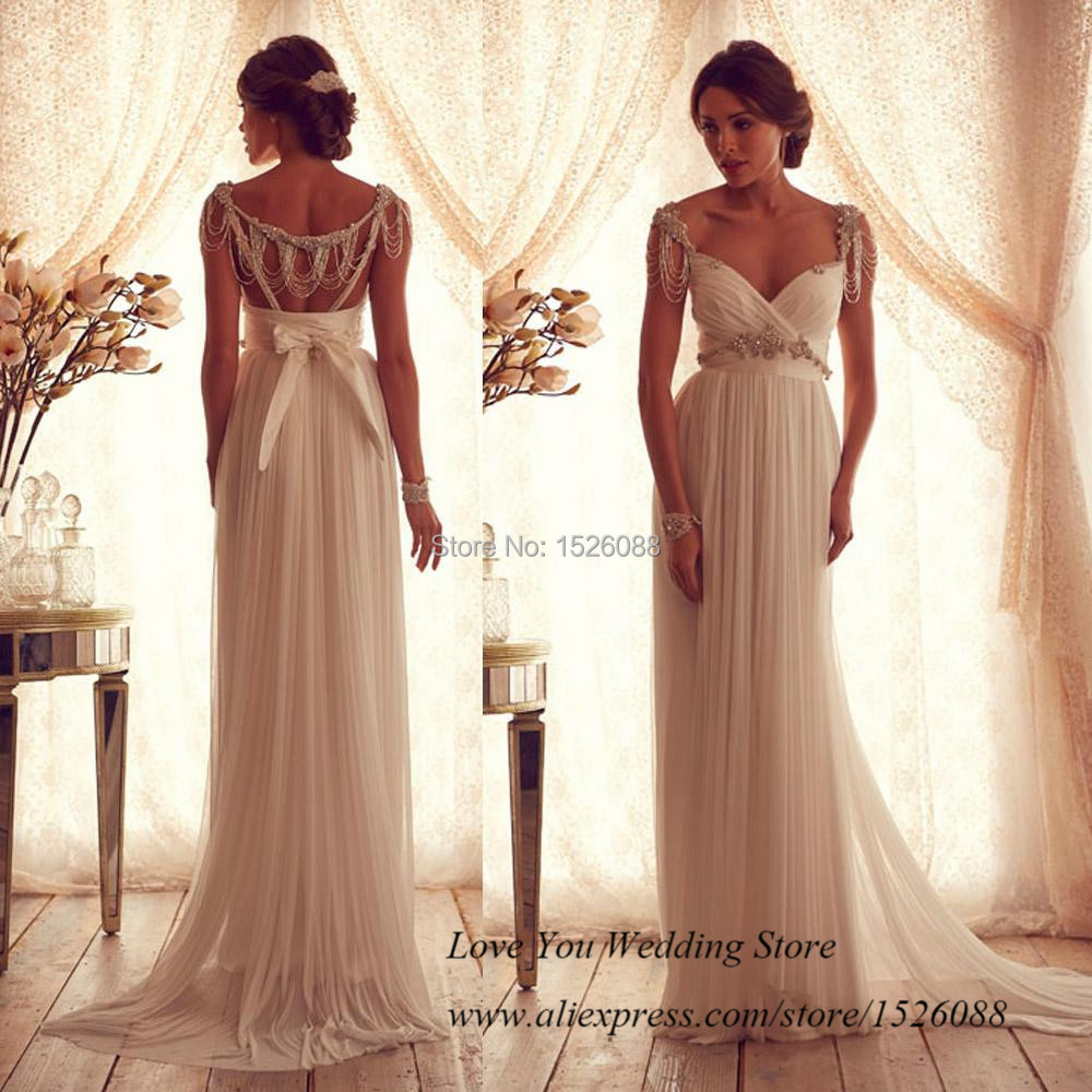 summer vintage beach wedding dress backless chiffon 2015