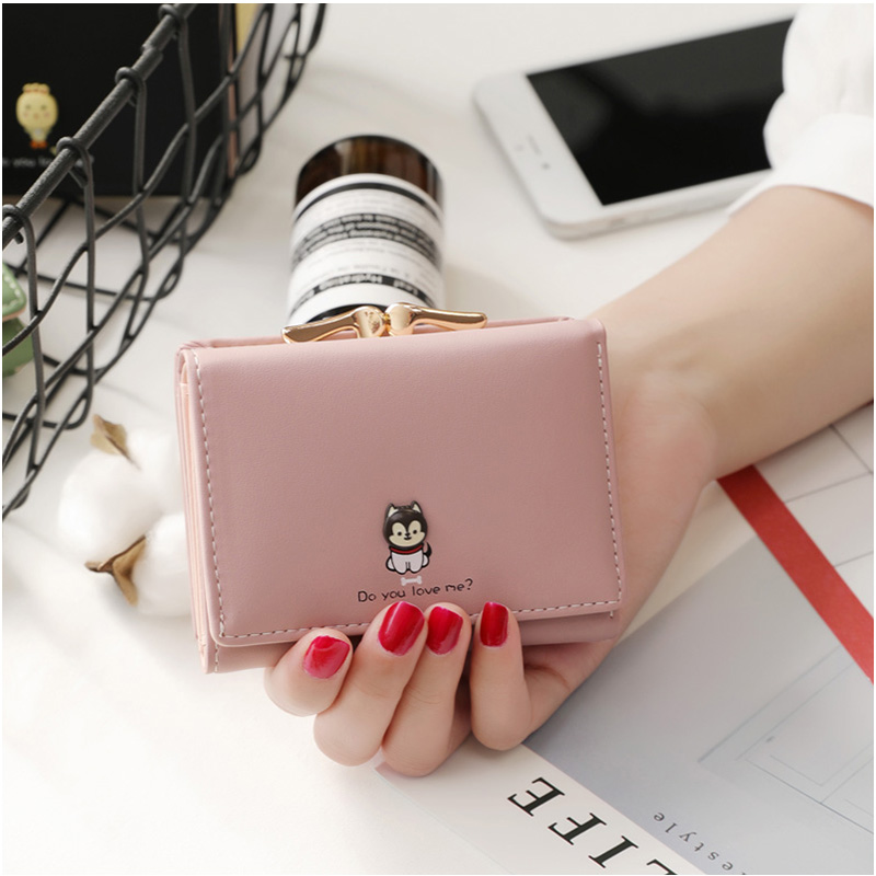 New arrival fashion women wallet small wallets short design simple cute coin purse three fold multi-function Purse simple women s wallet with tri fold and letter design