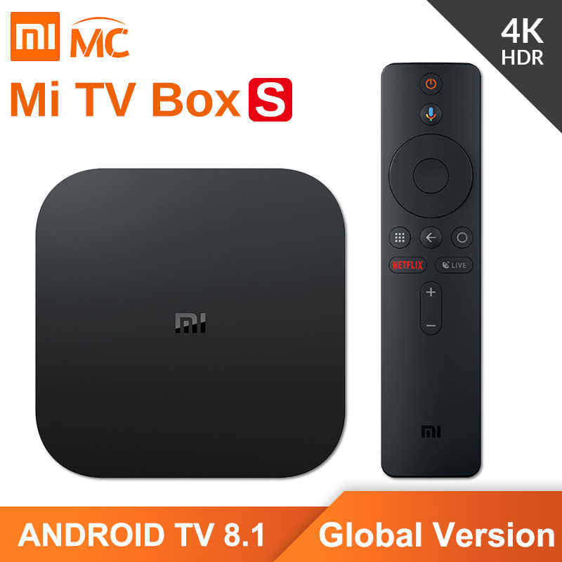 Global Versão Original Xiao mi mi 4K HDR Android TV Caixa de TV S 2G 8G WIFI Google fundido 4 Netflix IPTV Set top Box Media Player