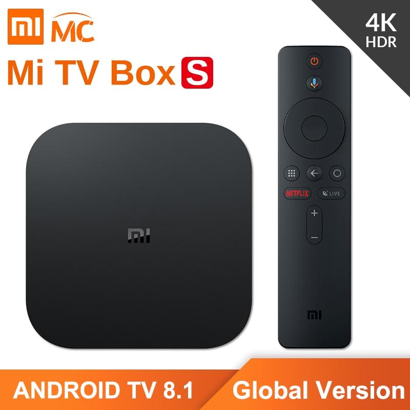 Global Versão Original Xiao mi mi 4K HDR Android TV Caixa de TV S 2G 8G WIFI Google fundido 4 Netflix IPTV Set top Box Media Player