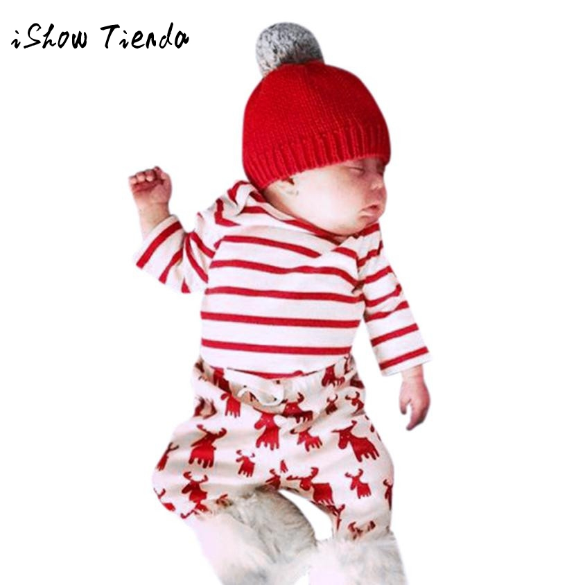 Christmas new years costume Newborn Baby Girl Boy Deer Print Stripe long sleeve Top+Pant clothing Sets Outfit winter Tracksuit