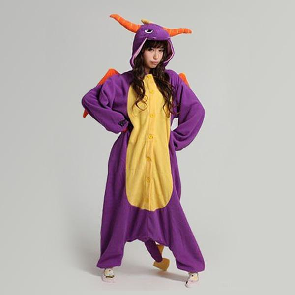 Wholesale Hot Sale lovely purple dinosaur New Kigurumi Pajamas Animal Cosplay Costume unisex