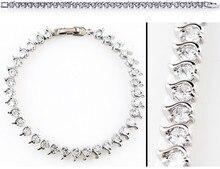 Shiny CZ Zircon Silver Ladies Fashion Bracelets Jewelry