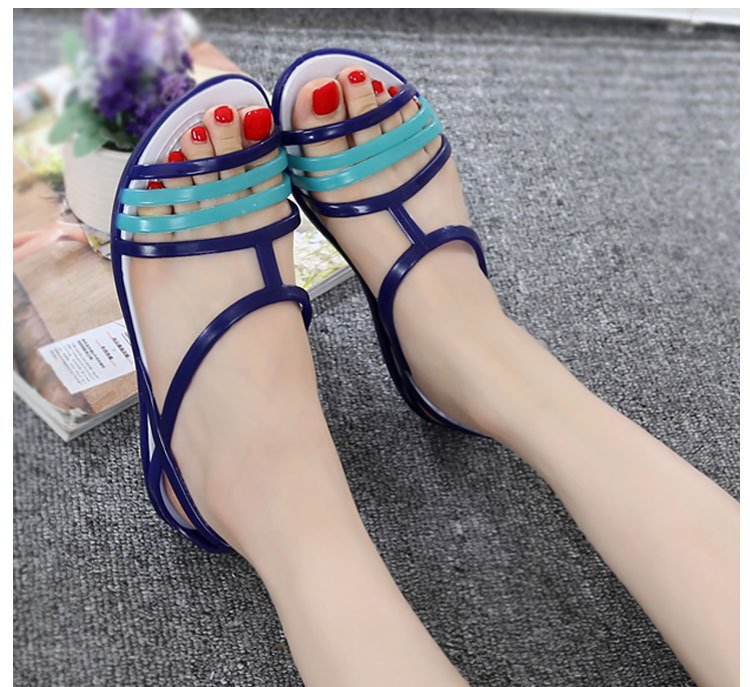 HTB1QbnjazzuK1RjSspeq6ziHVXam Women Flat Sandals Jelly Shoes Summer Beach Shoes Sandalia Feminina 2019 Candy Color Slides Ladies Slippers Chaussures Femme