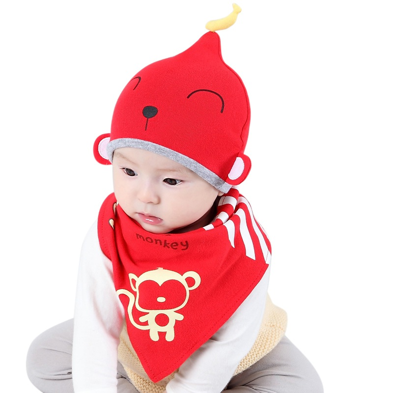 2 pcs / set Newborn Hats bibs Baby Boy Girls Cap Toddler Infant Lovely Rabbit Beanie Caps and Scarf Sets