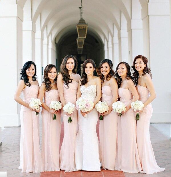 Light Pink Long Bridesmaid Chiffon Dress Strapless Sheath Floor Length Sleeveless Gowns Vestidos Para Damas