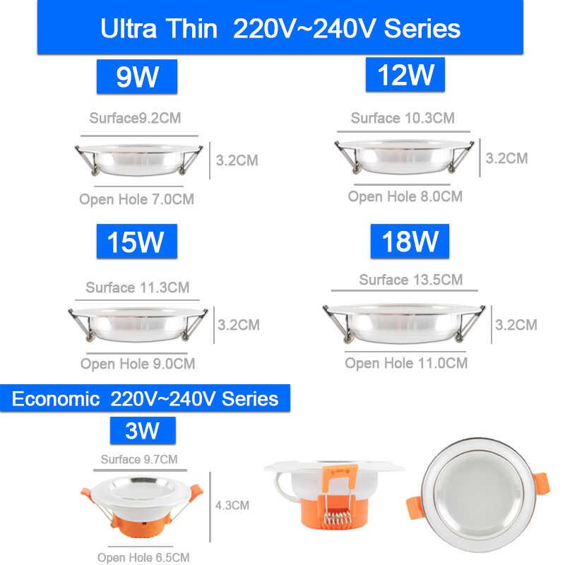 1 PC/4 Pcs 3W-18W LED Downlight 220V Perak Putih Ultra Tipis Tersembunyi LED spot Pencahayaan untuk Langit-langit Dapur Indoor 15W 4.8