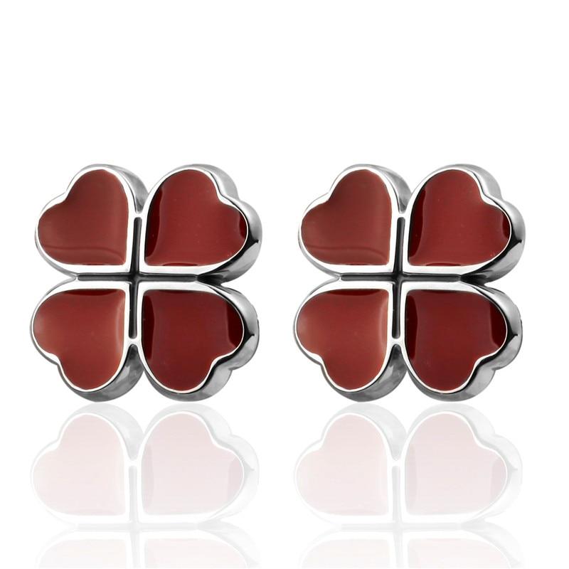 C-MAN De Luxe chemise Rouge trèfle Émail bouton de manchette pour hommes  Marque manchette boutons de manchette liens de Haute Qualité abotoaduras  Bijoux 7a1a389bc4c
