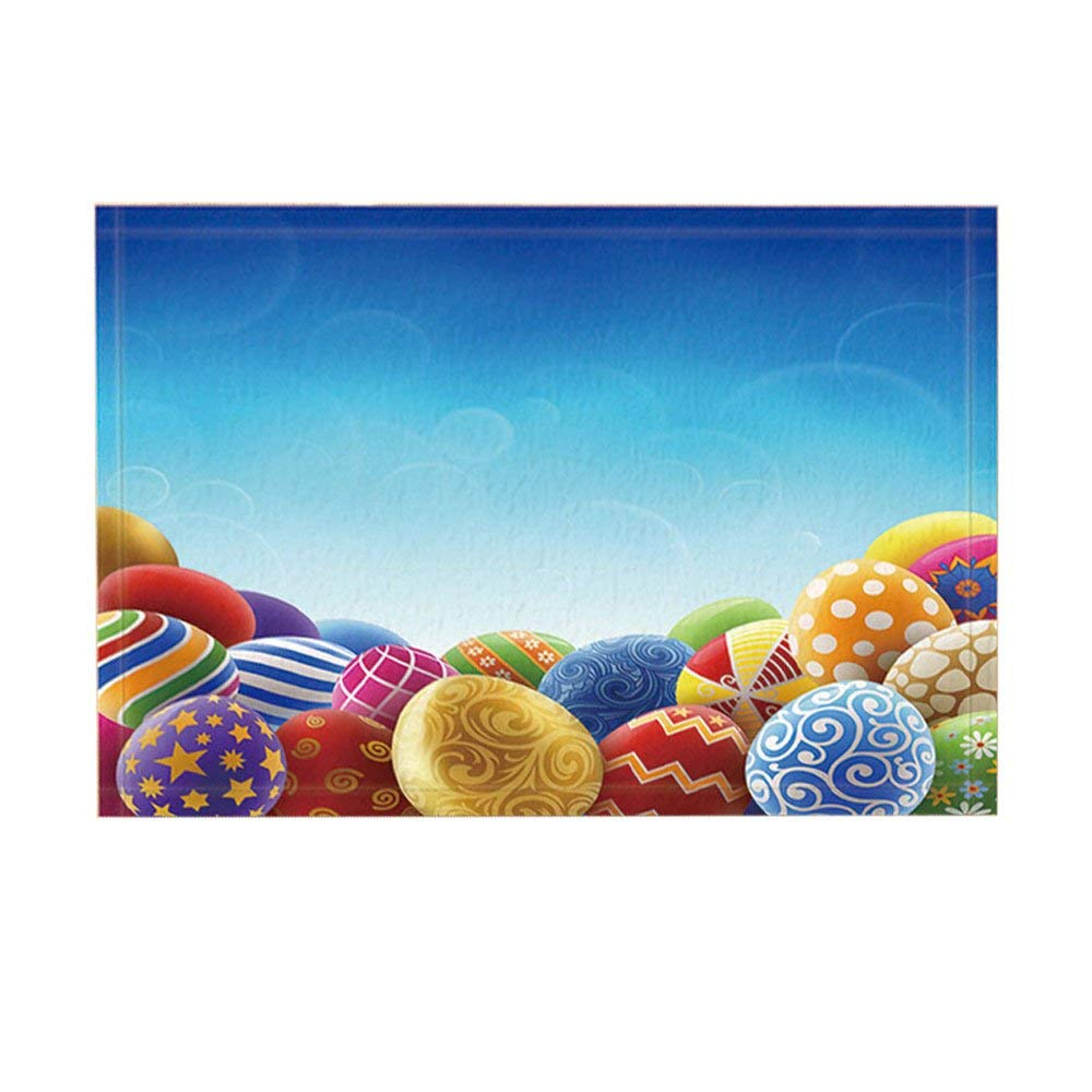 Non Slip Easter Holiday Bath Rugs, Easter Eggs Under Clear