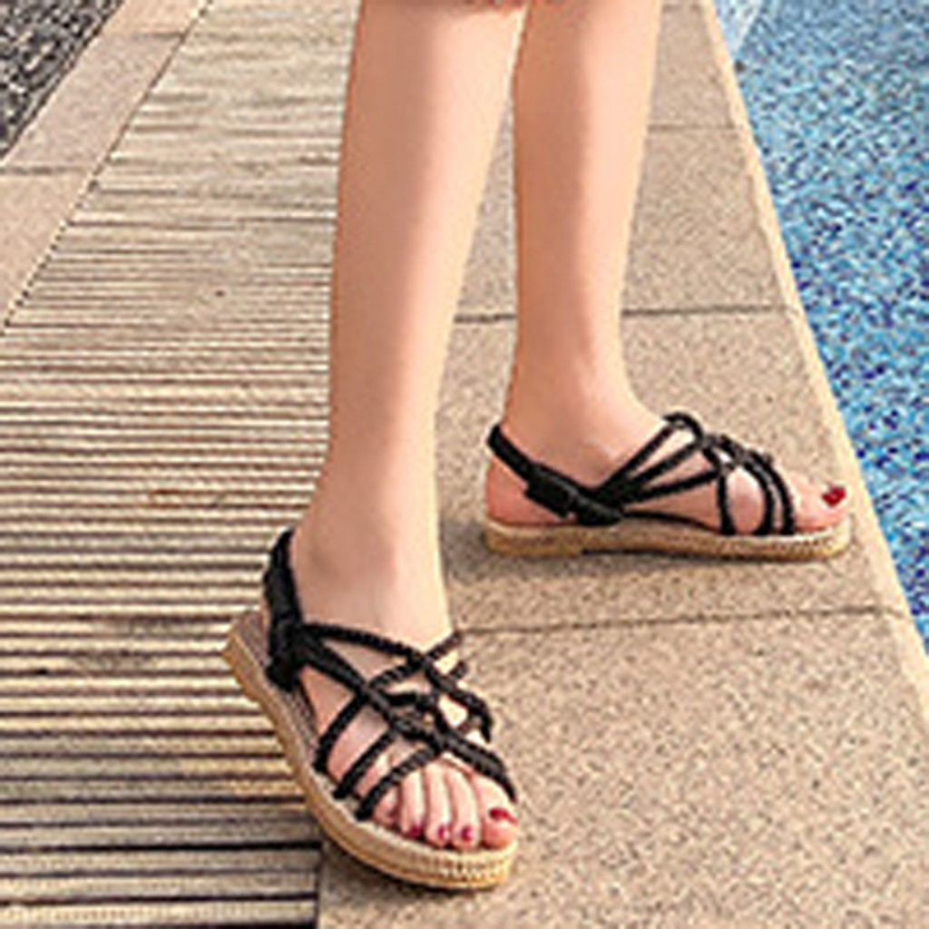 HTB1Qbo8dQ9E3KVjSZFGq6A19XXa7 - SAGACE Sandals Woman Shoes Braided Rope With Traditional Casual Style And Simple Creativity Fashion Sandals Women Summer Shoes