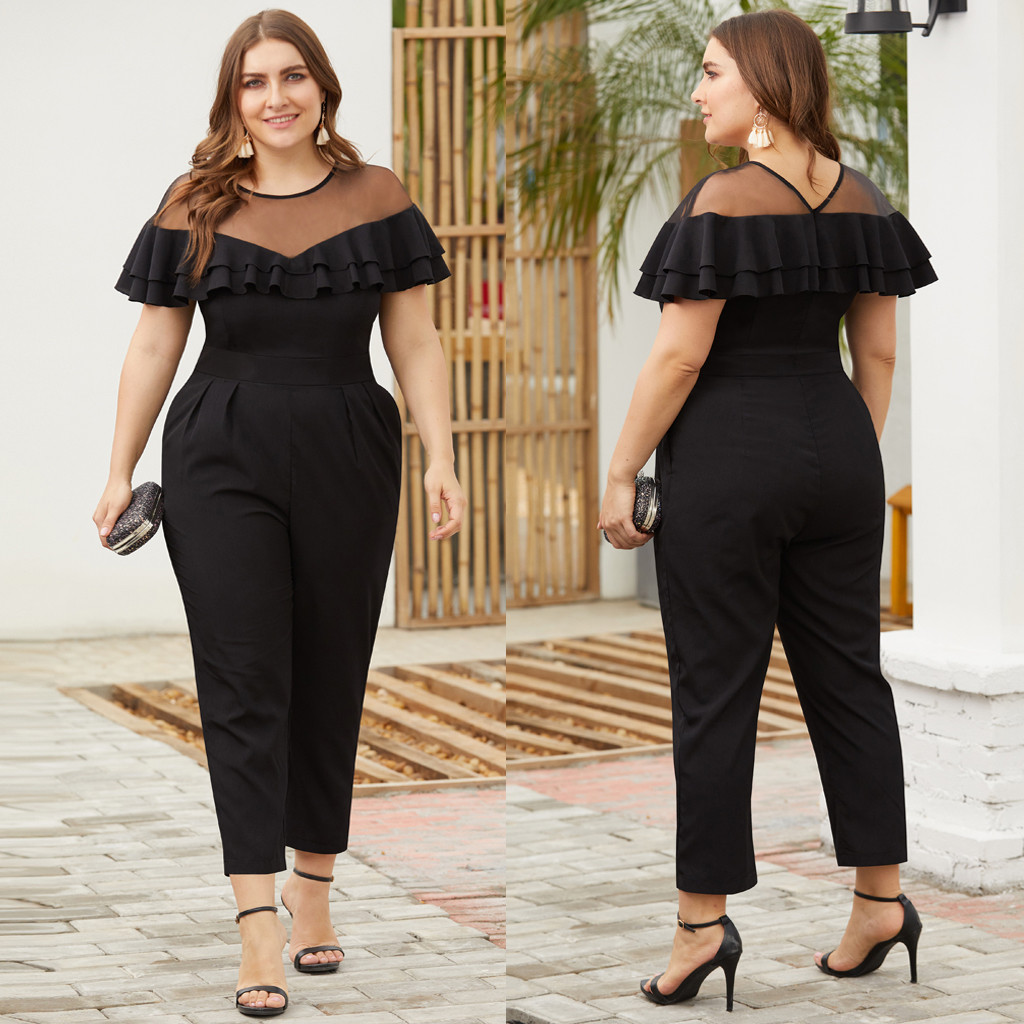 Fashion Solid Ruffles Jumpsuit Plus Size Women Xxxl Women's Plus Size Mesh Stitching Ruffled Short-Sleeved Small Feet Jumpsuit