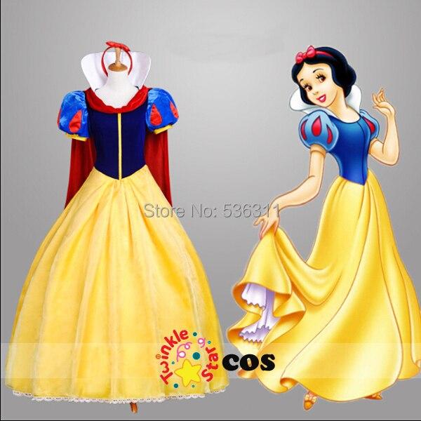 adult women Halloween costumes custom made snow white princess cosplay costume for women girls dress (dress+red cloak+headband)