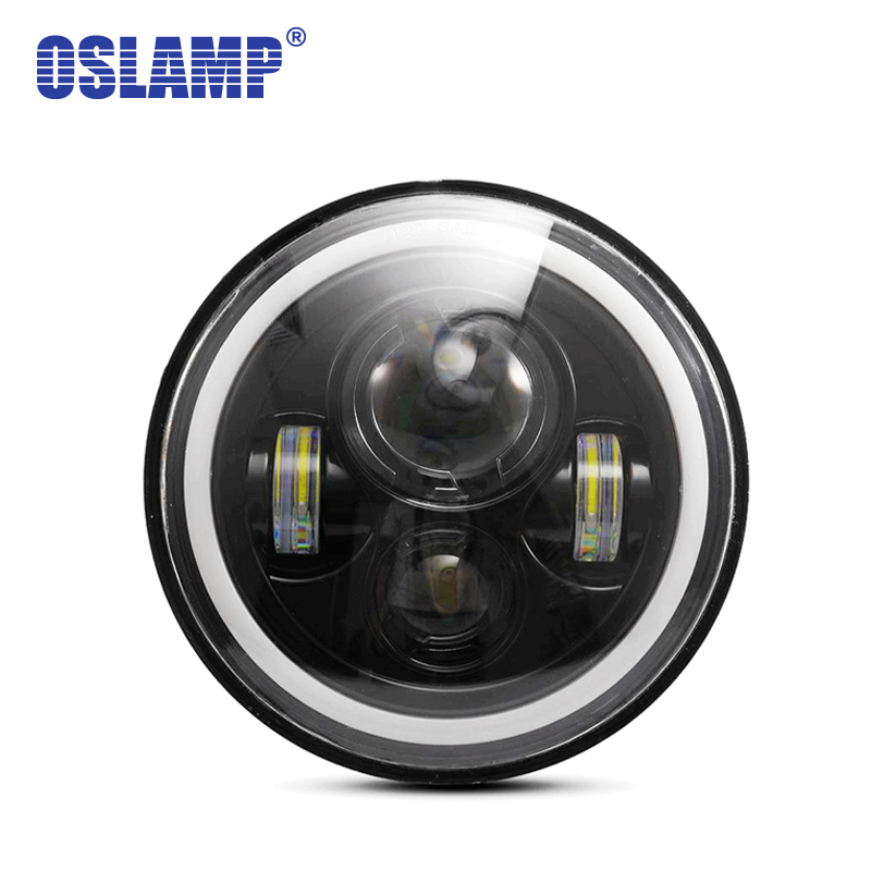 Oslam 30W 7inch Round Led Headlight High Low Beam Lights Halo Angle Eyes DRL Headlamp For Jeep Wrangler Off Road 4x4 Motorcycle