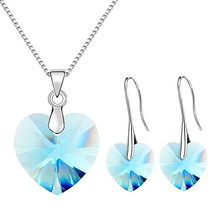 Valentines Day Gift ANNGILL Original Crystals From Swarovski XILION Heart Drop Earrings and Pendant Necklaces Jewelry Sets Female Party Wedding Set