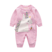 Winter Baby Girl Clothes Unicorn Santa Crochet Baby Thick Jumpsuit Newborn Baby Winter Cotton Rompers Baby Boy Clothes D1044