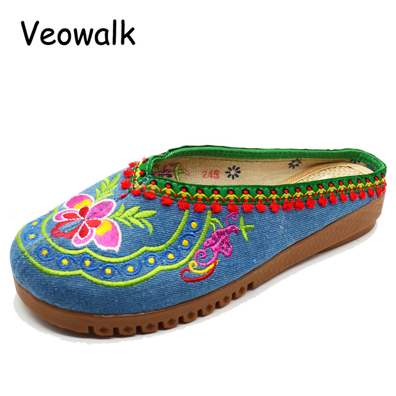 Veowalk New 2017 Summer Nepal Islamic Embroidered Slippers Chinese Style Foot slippers Flower Sandals Shoes