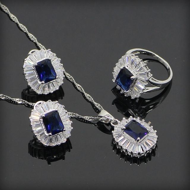 Azul Criado Sapphire Branco Topaz 925 Sterling Silver Conjuntos de Jóias Para As Mulheres Brincos/Pingente/Colar/Anéis Livre Caixa de presente
