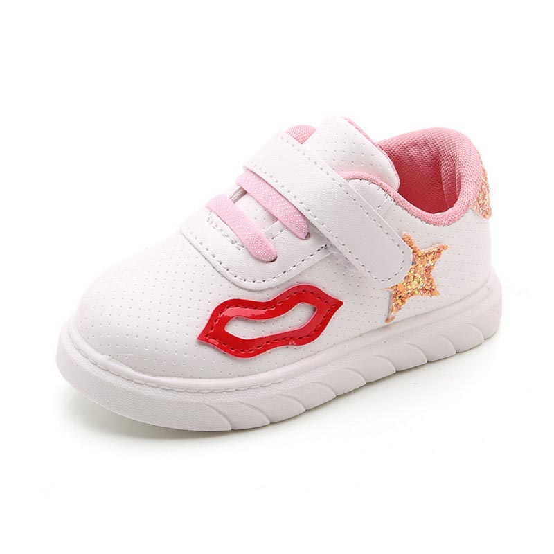 Spring Children Sport Sneakers Fashion 2018 Kids Antislip Soft Sneakers Girls Boys Toddler Shoes Cute Lip Star Running Shoes