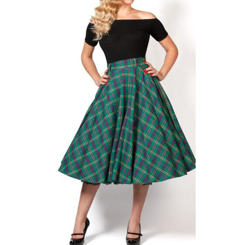 be812171402d5 Detail Feedback Questions about WBCTW Green Plaid Skirt 2019 NEW ARRIVALS  High Waist A Line Style Vintage Big Size Jupe Femme Swing Fashion 9XL 10XL  Midi ...
