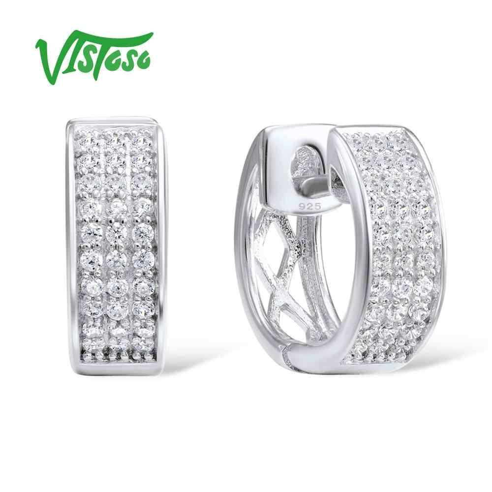 VISTOSO Silver Earrings For Women 925 Sterling Silver White Cubic Zirconia Earrings Jewelry High Quality  2018 Fine Jewelry