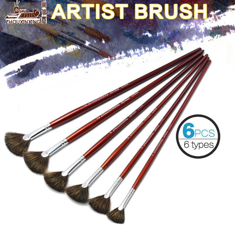 De alta calidad de 6 unids/set cola de pescado ventilador forma acuarela gouache acrílico pintura lápiz artista pinceles para pintura al óleo arte suministros