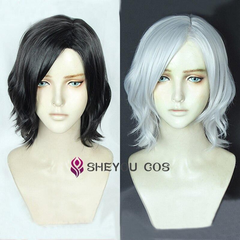 Vitale V косплей парик термостойкий косплей костюм волосы короткие черные белые волнистые волосы парики + парик колпачок