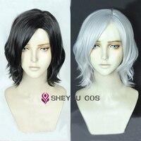 Vitale V Cosplay Wig Heat Resistant Cosplay Costume Hair Short Black White Wavy Hair Wigs + Wig Cap