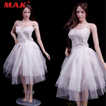 1/6 scale action figure accessory white evening dress young lady female girls for Jiao doll PH woman middle breast body figure цена в Москве и Питере