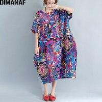 DIMANAF Plus Size Dress Women Summer Flora Print Female Casual Fashion Vintage New Purple 2017 Large