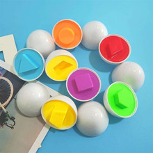 Color & Shape 6 whole eggs /set Children Toys Recognize Color Shape Matching Eggs Random Color Learning & Education plastic toy