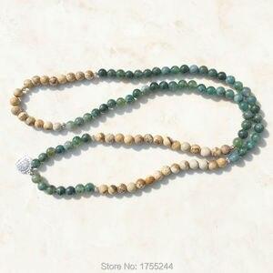 Image 3 - SN1005 טחב טבעי אבן תמונה 108 חרוזים Mala שרשרת יוגה Mala עץ החיים תכשיטי אבן טבעי גלישת צמיד אופנה